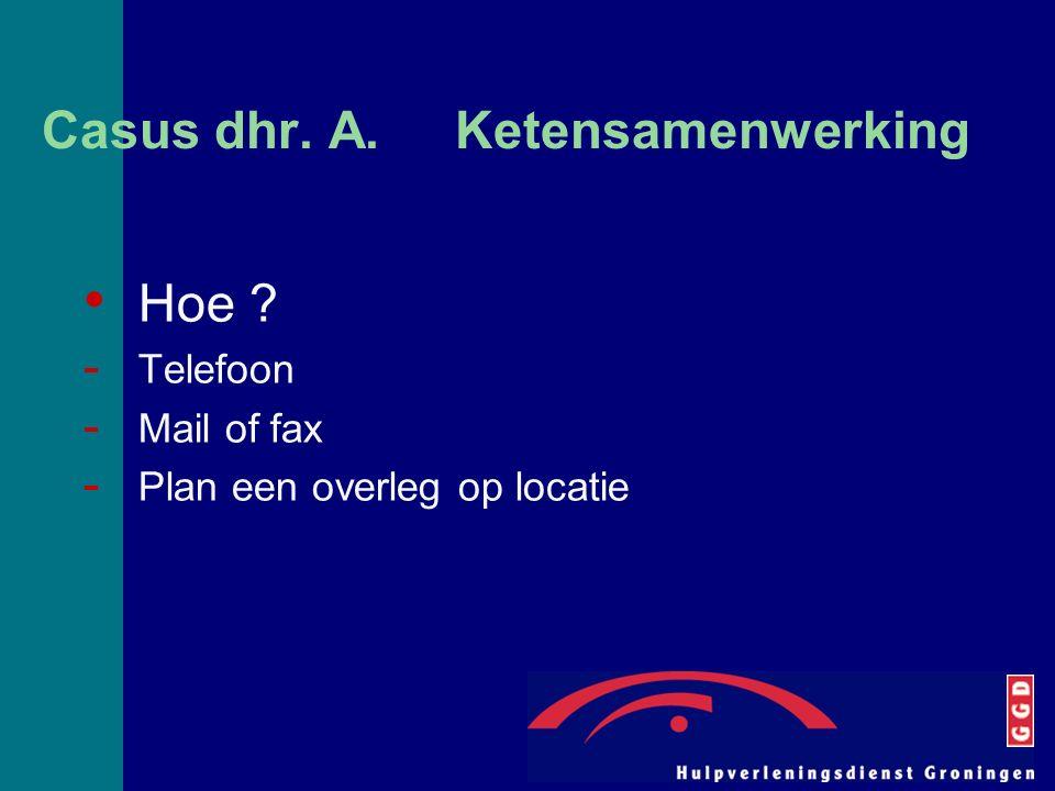 Casus dhr. A. Ketensamenwerking Hoe ? - Telefoon - Mail of fax - Plan een overleg op locatie