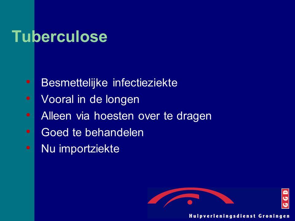 Tuberculose Besmettelijke infectieziekte Vooral in de longen Alleen via hoesten over te dragen Goed te behandelen Nu importziekte