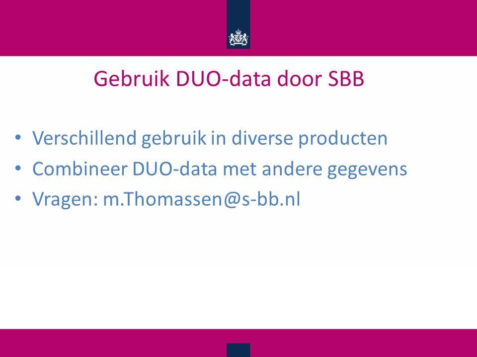 Gebruik DUO-data door SBB Verschillend gebruik in diverse producten Combineer DUO-data met andere gegevens Vragen: m.Thomassen@s-bb.nl