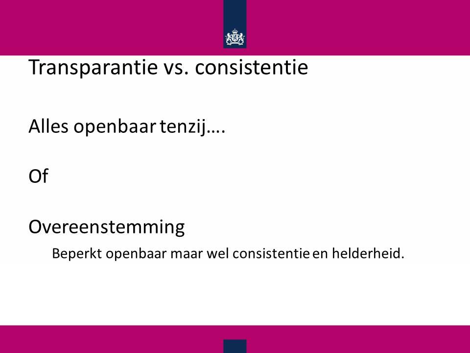 Transparantie vs.consistentie Alles openbaar tenzij….
