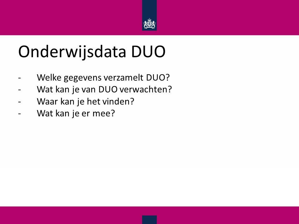 Onderwijsdata DUO -Welke gegevens verzamelt DUO. -Wat kan je van DUO verwachten.