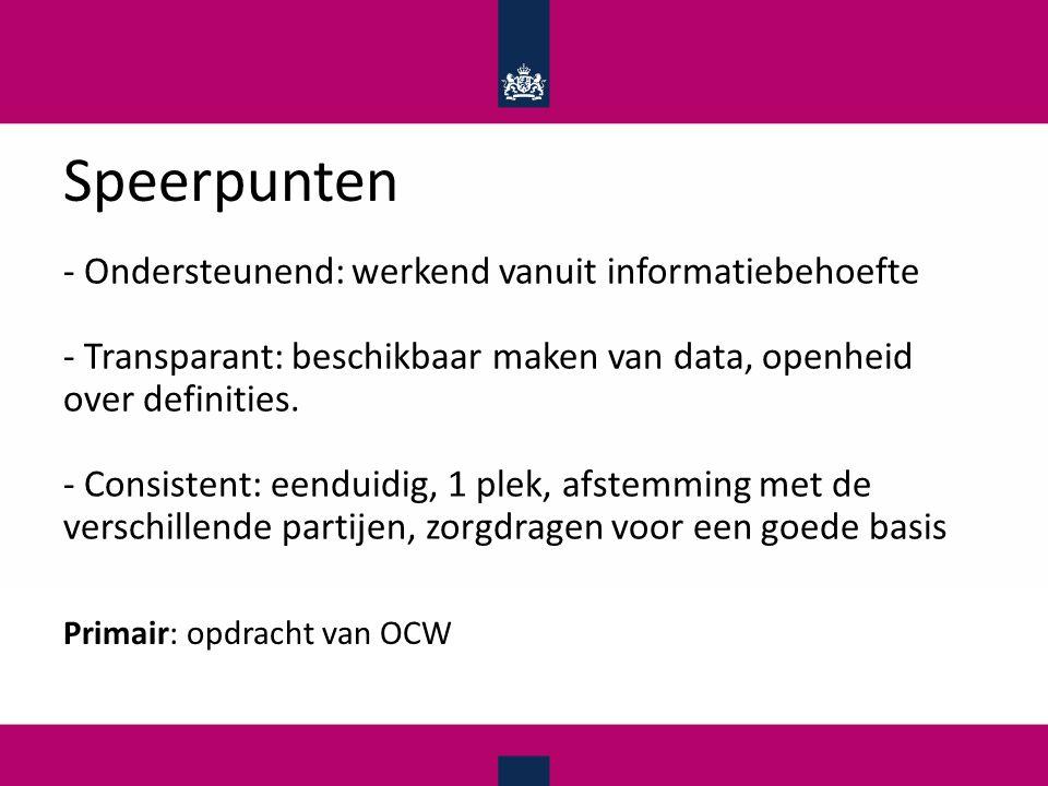 Speerpunten - Ondersteunend: werkend vanuit informatiebehoefte - Transparant: beschikbaar maken van data, openheid over definities.