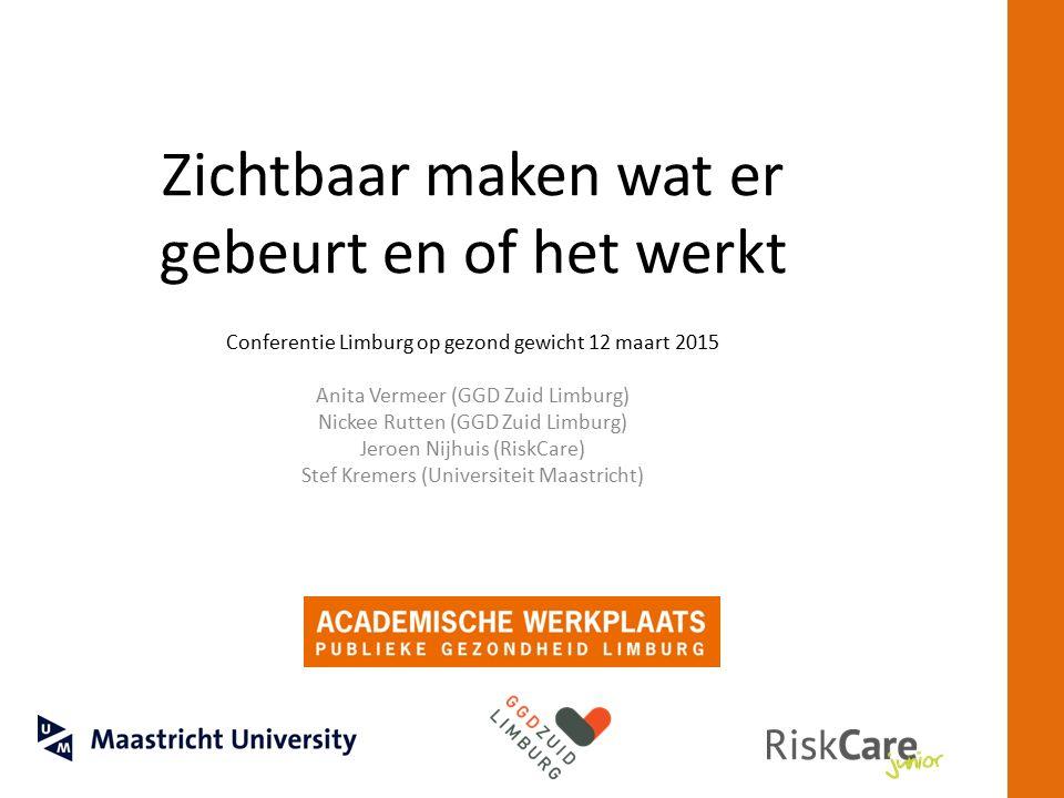 Zichtbaar maken wat er gebeurt en of het werkt Conferentie Limburg op gezond gewicht 12 maart 2015 Anita Vermeer (GGD Zuid Limburg) Nickee Rutten (GGD Zuid Limburg) Jeroen Nijhuis (RiskCare) Stef Kremers (Universiteit Maastricht)