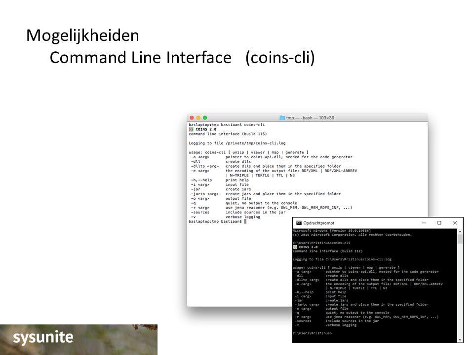 Mogelijkheiden Command Line Interface (coins-cli)