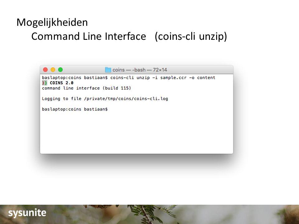 Mogelijkheiden Command Line Interface (coins-cli unzip)