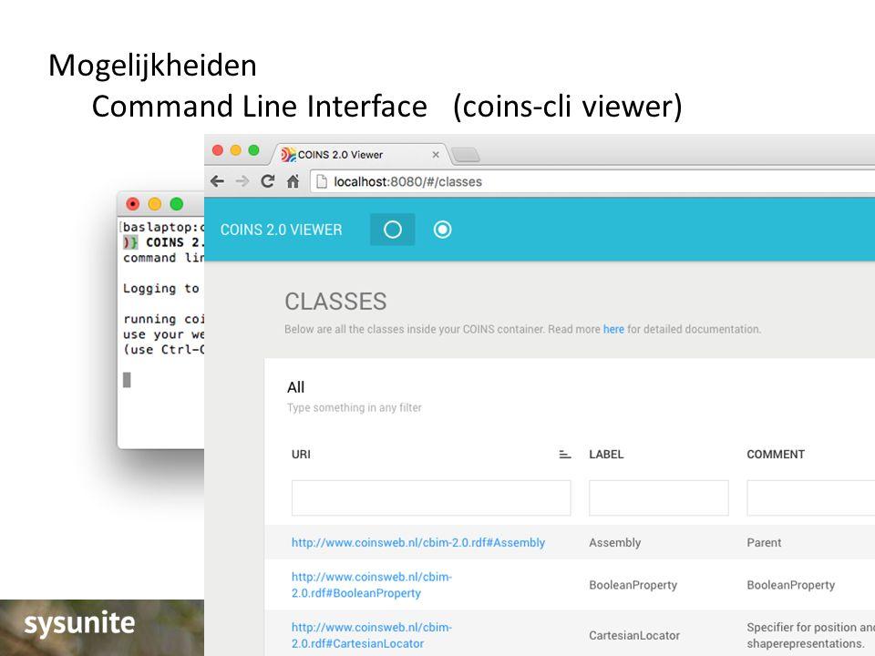 Mogelijkheiden Command Line Interface (coins-cli viewer)