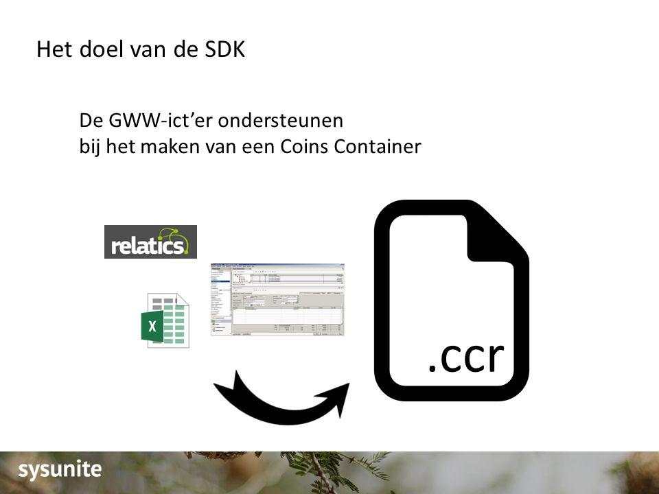 Het doel van de SDK De GWW-ict'er ondersteunen bij het maken van een Coins Container.ccr