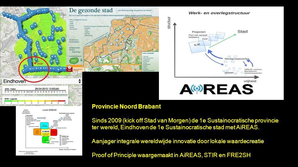 Provincie Noord Brabant Sinds 2009 (kick off Stad van Morgen) de 1e Sustainocratische provincie ter wereld, Eindhoven de 1e Sustainocratische stad met AiREAS.