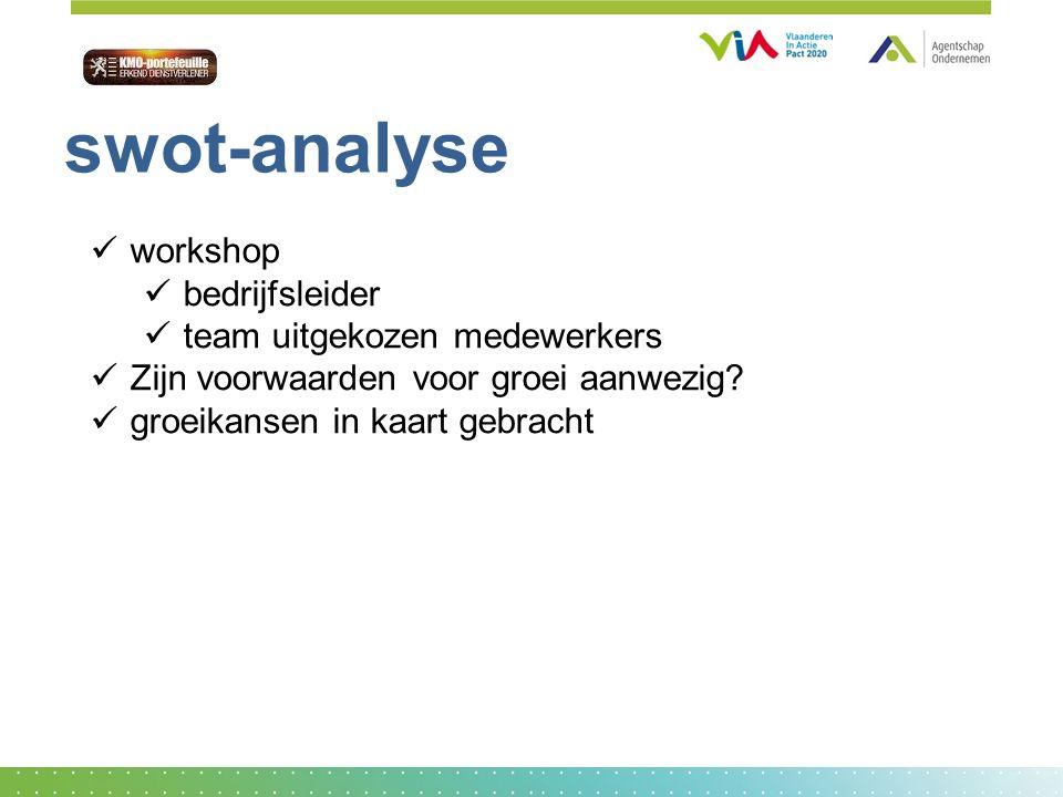workshop bedrijfsleider team uitgekozen medewerkers Zijn voorwaarden voor groei aanwezig? groeikansen in kaart gebracht swot-analyse