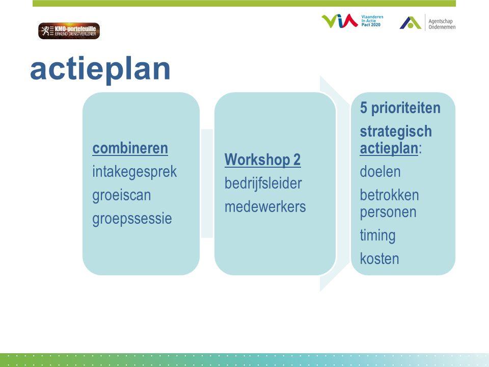 actieplan combineren intakegesprek groeiscan groepssessie Workshop 2 bedrijfsleider medewerkers 5 prioriteiten strategisch actieplan : doelen betrokken personen timing kosten