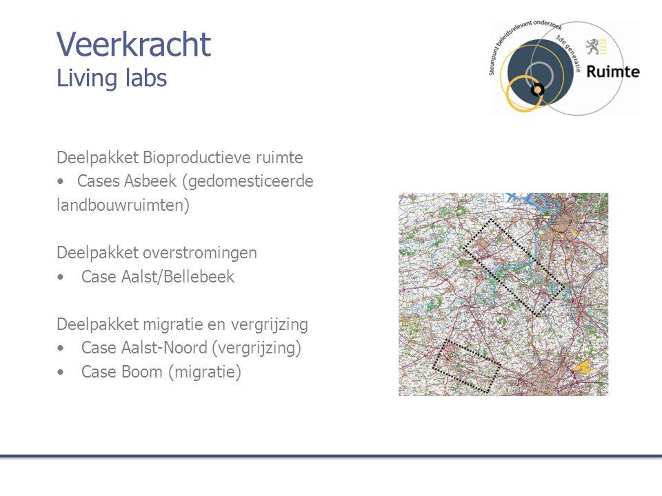Deelpakket Bioproductieve ruimte Cases Asbeek (gedomesticeerde landbouwruimten) Deelpakket overstromingen Case Aalst/Bellebeek Deelpakket migratie en vergrijzing Case Aalst-Noord (vergrijzing) Case Boom (migratie) Veerkracht Living labs