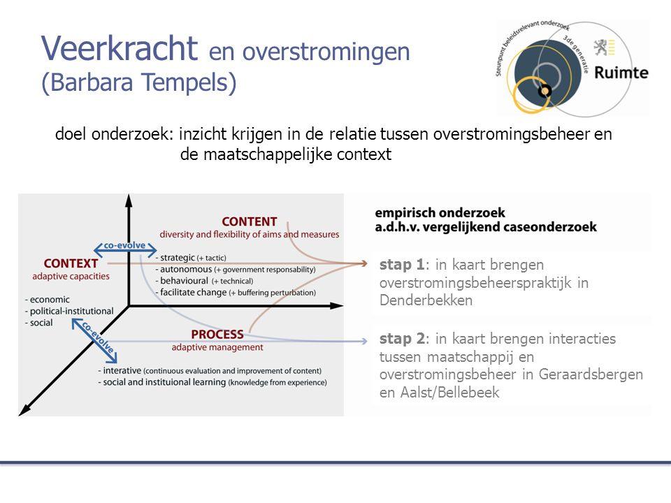 stap 2: in kaart brengen interacties tussen maatschappij en overstromingsbeheer in Geraardsbergen en Aalst/Bellebeek doel onderzoek: inzicht krijgen i