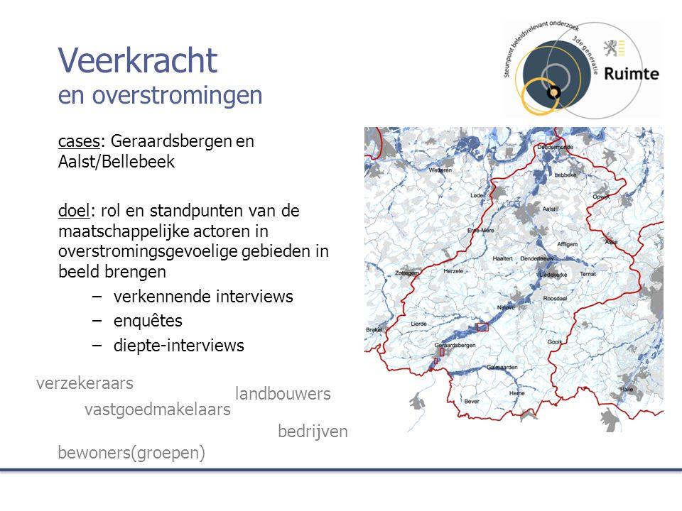 cases: Geraardsbergen en Aalst/Bellebeek doel: rol en standpunten van de maatschappelijke actoren in overstromingsgevoelige gebieden in beeld brengen