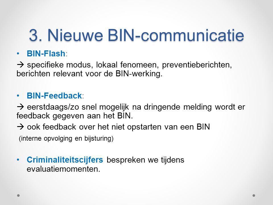 BIN-Flash:  specifieke modus, lokaal fenomeen, preventieberichten, berichten relevant voor de BIN-werking.
