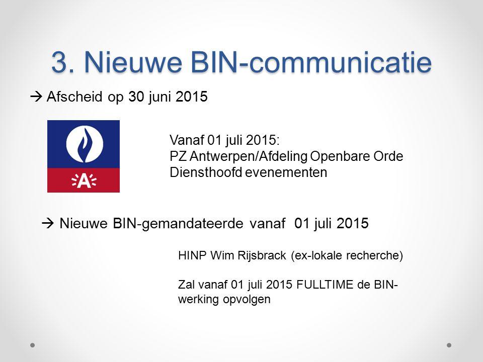 3. Nieuwe BIN-communicatie  Afscheid op 30 juni 2015 Vanaf 01 juli 2015: PZ Antwerpen/Afdeling Openbare Orde Diensthoofd evenementen HINP Wim Rijsbra