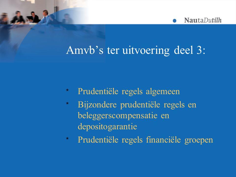 Amvb's ter uitvoering deel 3: * Prudentiële regels algemeen * Bijzondere prudentiële regels en beleggerscompensatie en depositogarantie * Prudentiële regels financiële groepen