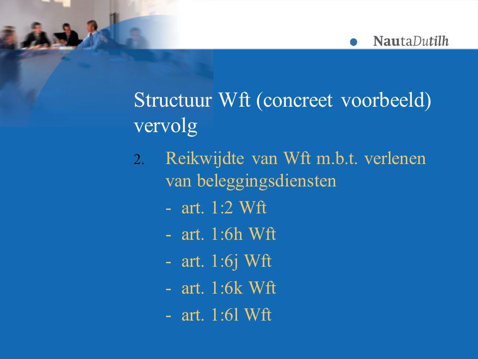 Structuur Wft (concreet voorbeeld) vervolg 2. Reikwijdte van Wft m.b.t.