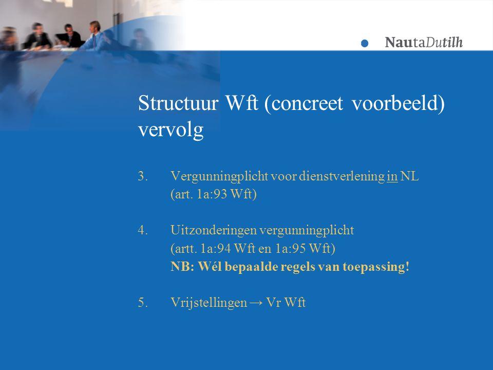 Structuur Wft (concreet voorbeeld) vervolg 3.Vergunningplicht voor dienstverlening in NL (art.