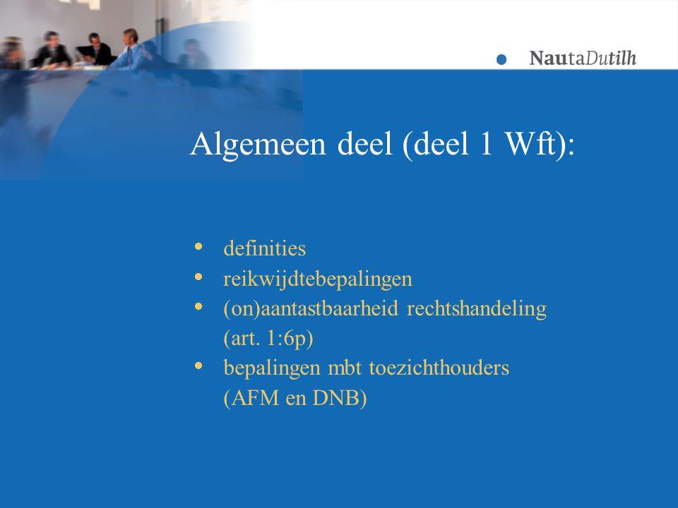 Algemeen deel (deel 1 Wft):  definities  reikwijdtebepalingen  (on)aantastbaarheid rechtshandeling (art.
