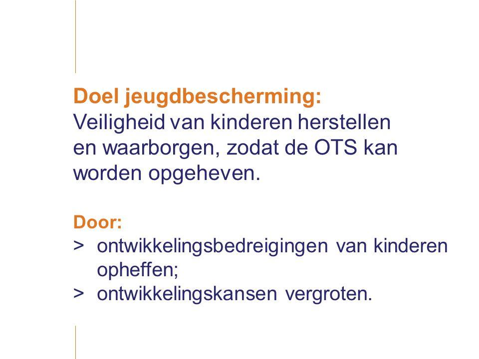 Doel jeugdbescherming: Veiligheid van kinderen herstellen en waarborgen, zodat de OTS kan worden opgeheven.