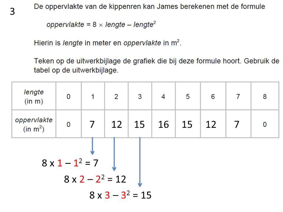 8 x 1 – 1 2 = 7 7 8 x 2 – 2 2 = 12 12 8 x 3 – 3 2 = 15 1516 15 12 7 3