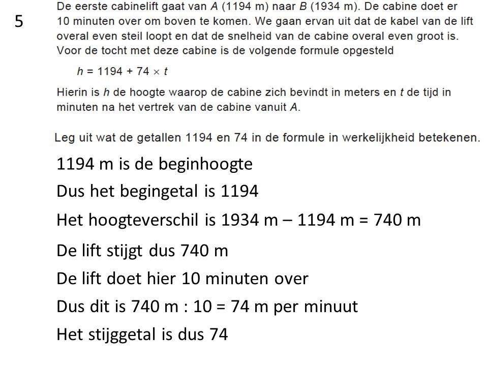 Inklemmen en zoeken bij hoeveel minuten de hoogte 1725 is H = 1194 + 74 x 7,1= 1719,4 H = 1194 + 74 x 7,2= 1726,8 Dus na 7,2 minuten 6