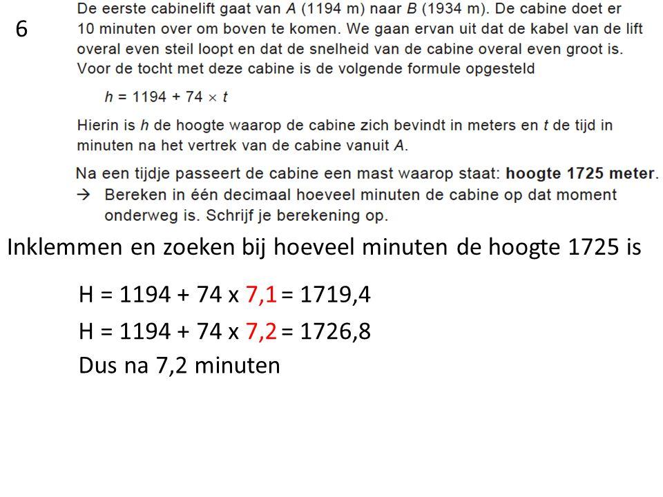 2314 m is de beginhoogte Het hoogteverschil is 2314 m – 1378 m = 936 m De lift daalt dus 936 m De lift doet hier 12 minuten over Dus dit is 936 m : 12 = 78 m per minuut Het daalgetal is dus 78 Dus het begingetal is 2314,want hij gaat van C naar D De formule is dus  H = 2314 – 78 x t 7
