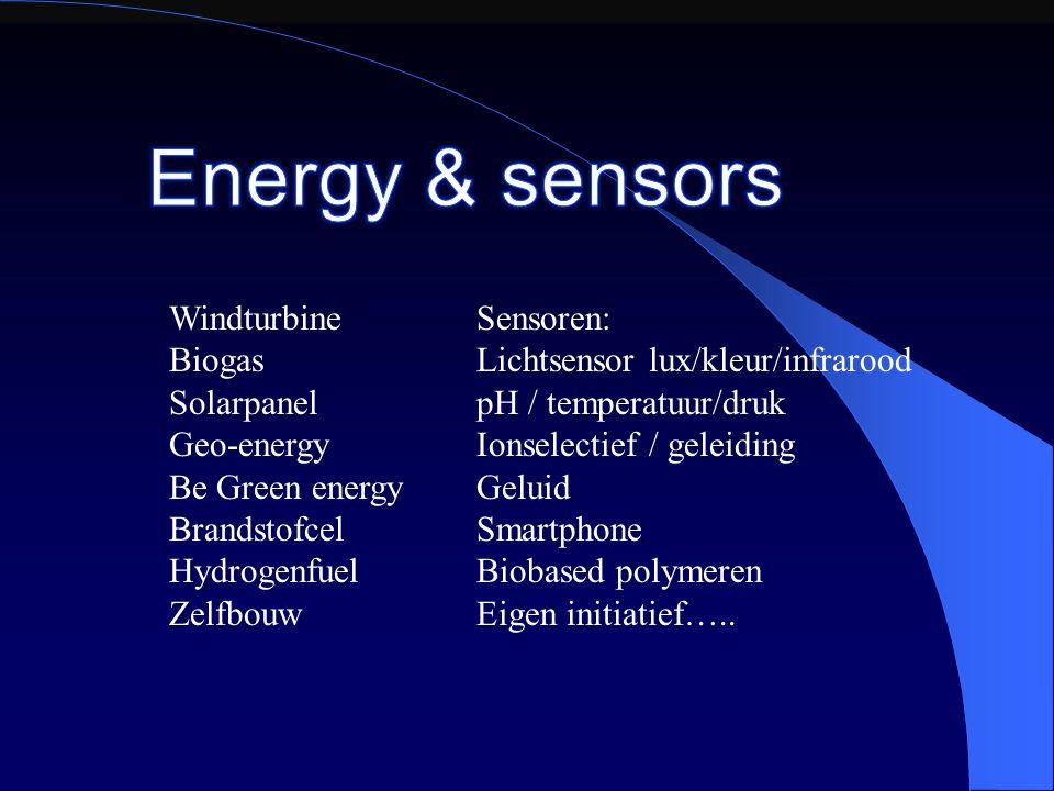 Windturbine Biogas Solarpanel Geo-energy Be Green energy Brandstofcel Hydrogenfuel Zelfbouw Sensoren: Lichtsensor lux/kleur/infrarood pH / temperatuur/druk Ionselectief / geleiding Geluid Smartphone Biobased polymeren Eigen initiatief…..