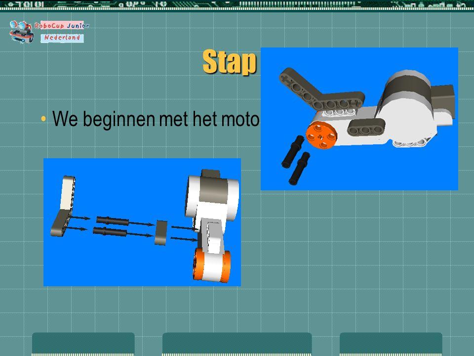 Stap 1 We beginnen met het motor blok.
