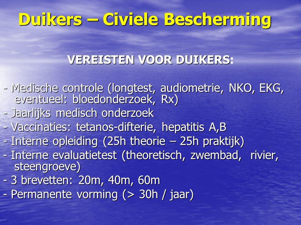 Duikers – Civiele Bescherming VEREISTEN VOOR DUIKERS VEREISTEN VOOR DUIKERS: - Medische controle (longtest, audiometrie, NKO, EKG, eventueel: bloedonderzoek, Rx) - Jaarlijks medisch onderzoek - Vaccinaties: tetanos-difterie, hepatitis A,B - Interne opleiding (25h theorie – 25h praktijk) - Interne evaluatietest (theoretisch, zwembad, rivier, steengroeve) - 3 brevetten: 20m, 40m, 60m - Permanente vorming (> 30h / jaar)