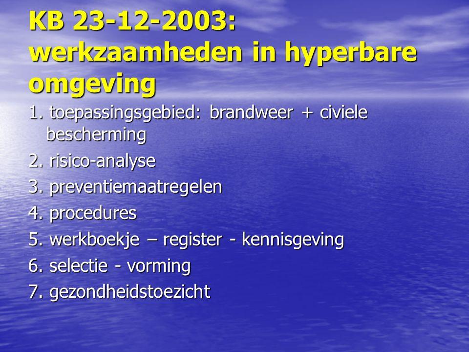 KB 23-12-2003: werkzaamheden in hyperbare omgeving 1.