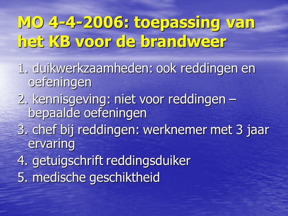MO 4-4-2006: toepassing van het KB voor de brandweer 1.