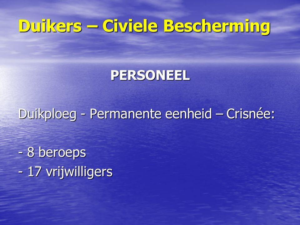 PERSONEEL Duikploeg - Permanente eenheid – Crisnée: - 8 beroeps - 17 vrijwilligers