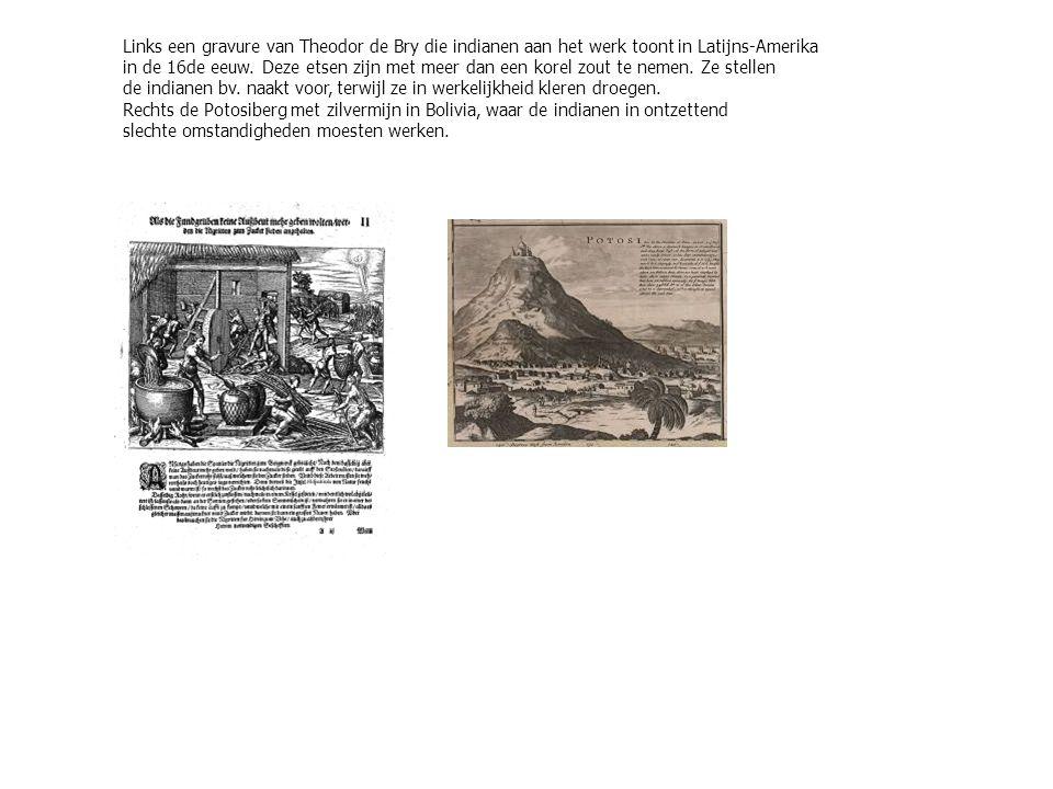 Links een gravure van Theodor de Bry die indianen aan het werk toont in Latijns-Amerika in de 16de eeuw.