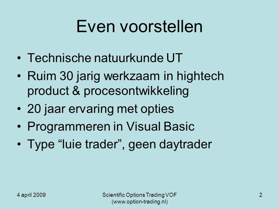 4 april 2009Scientific Options Trading VOF (www.option-trading.nl) 13 Het optimalisatiebandbreedte van de looptijd