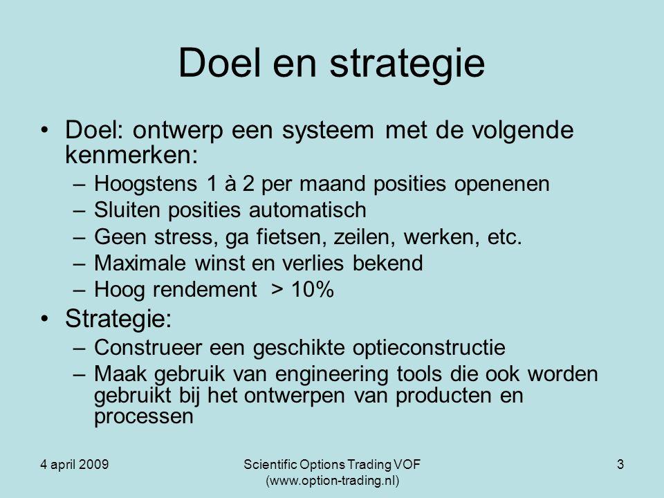 4 april 2009Scientific Options Trading VOF (www.option-trading.nl) 3 Doel en strategie Doel: ontwerp een systeem met de volgende kenmerken: –Hoogstens 1 à 2 per maand posities openenen –Sluiten posities automatisch –Geen stress, ga fietsen, zeilen, werken, etc.