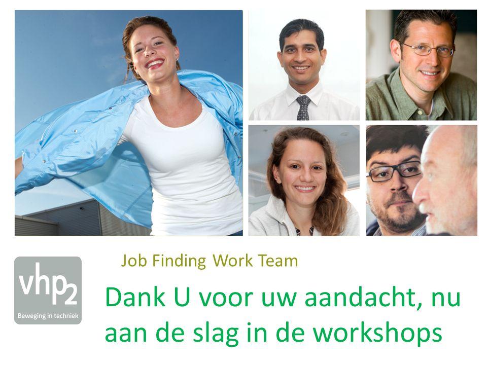 + Job Finding Work Team Dank U voor uw aandacht, nu aan de slag in de workshops
