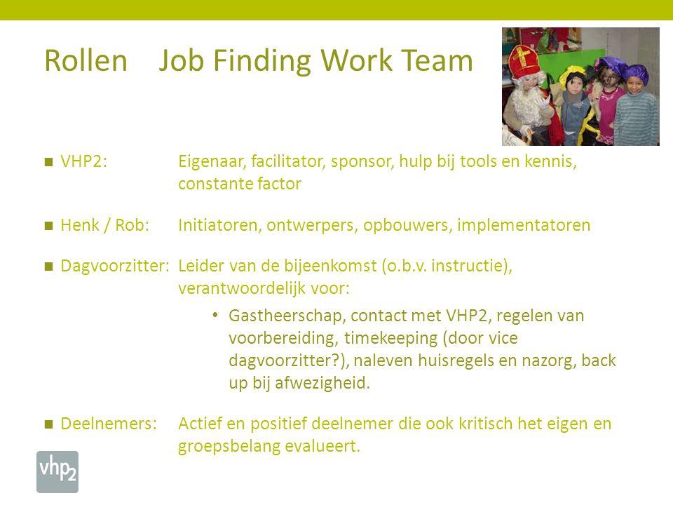 VHP2: Eigenaar, facilitator, sponsor, hulp bij tools en kennis, constante factor Henk / Rob:Initiatoren, ontwerpers, opbouwers, implementatoren Dagvoorzitter:Leider van de bijeenkomst (o.b.v.