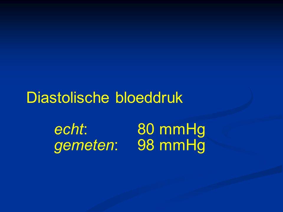 Diastolische bloeddruk echt:80 mmHg gemeten: 98 mmHg