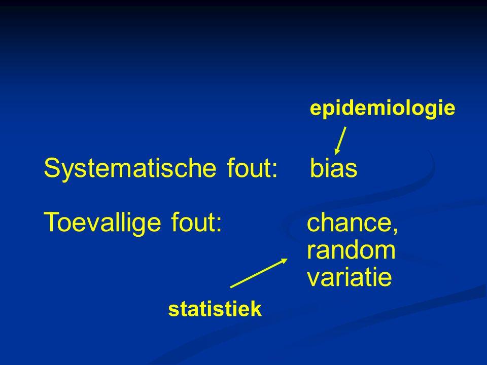 Systematische fout: bias Toevallige fout:chance, random variatie epidemiologie statistiek