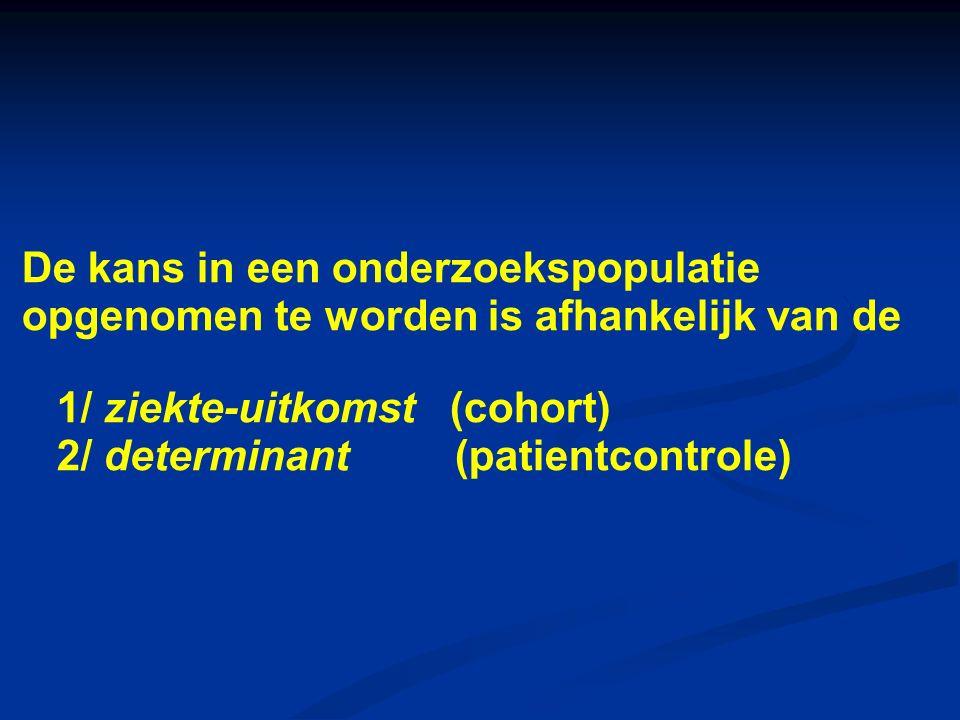 De kans in een onderzoekspopulatie opgenomen te worden is afhankelijk van de 1/ ziekte-uitkomst (cohort) 2/ determinant (patientcontrole)