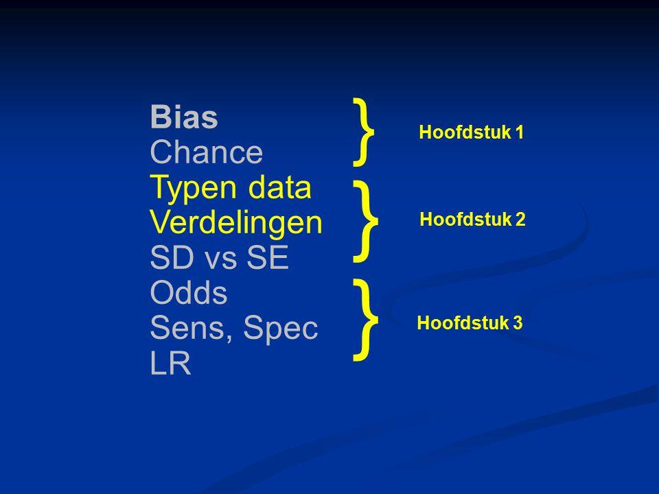 Bias Chance Typen data Verdelingen SD vs SE Odds Sens, Spec LR } } } Hoofdstuk 1 Hoofdstuk 2 Hoofdstuk 3
