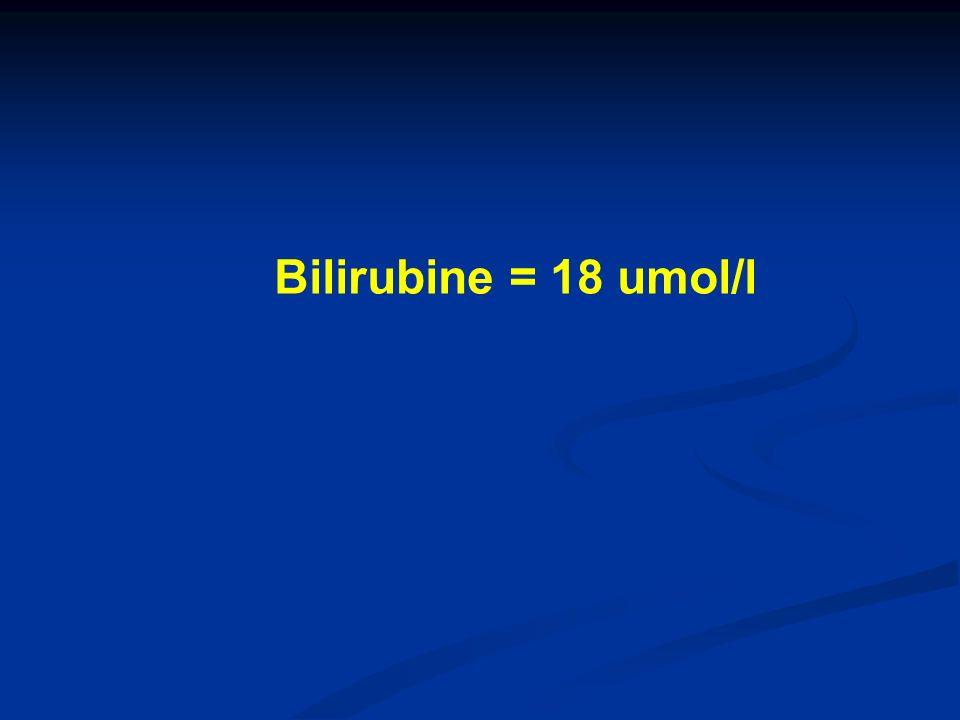Bilirubine = 18 umol/l