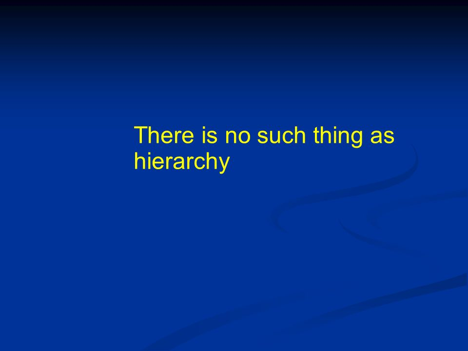 There is no such thing as hierarchy