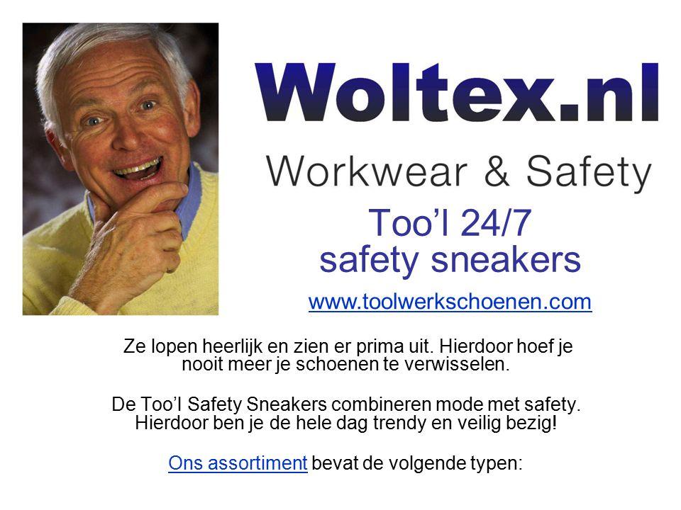 Kijk voor meer informatie over Too'l 24/7 safety sneakers op onze speciale website: Kijk voor andere soorten bedrijfskleding en werkkleding op: www.woltex.nl www.woltex.nl www.toolwerkschoenen.com