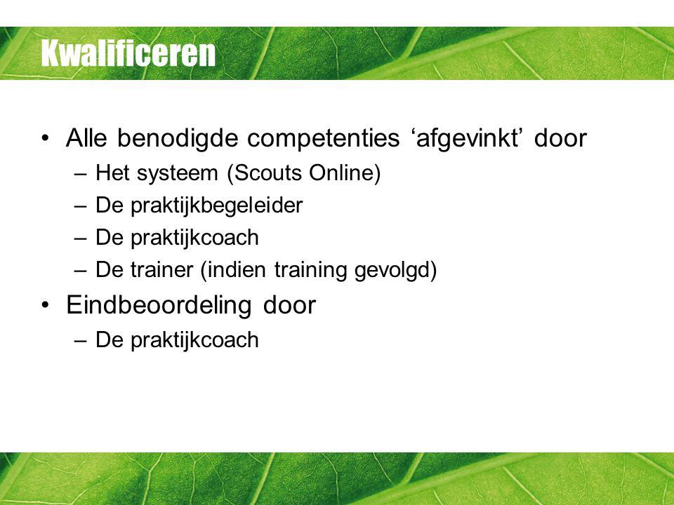 Kwalificeren Alle benodigde competenties 'afgevinkt' door –Het systeem (Scouts Online) –De praktijkbegeleider –De praktijkcoach –De trainer (indien training gevolgd) Eindbeoordeling door –De praktijkcoach
