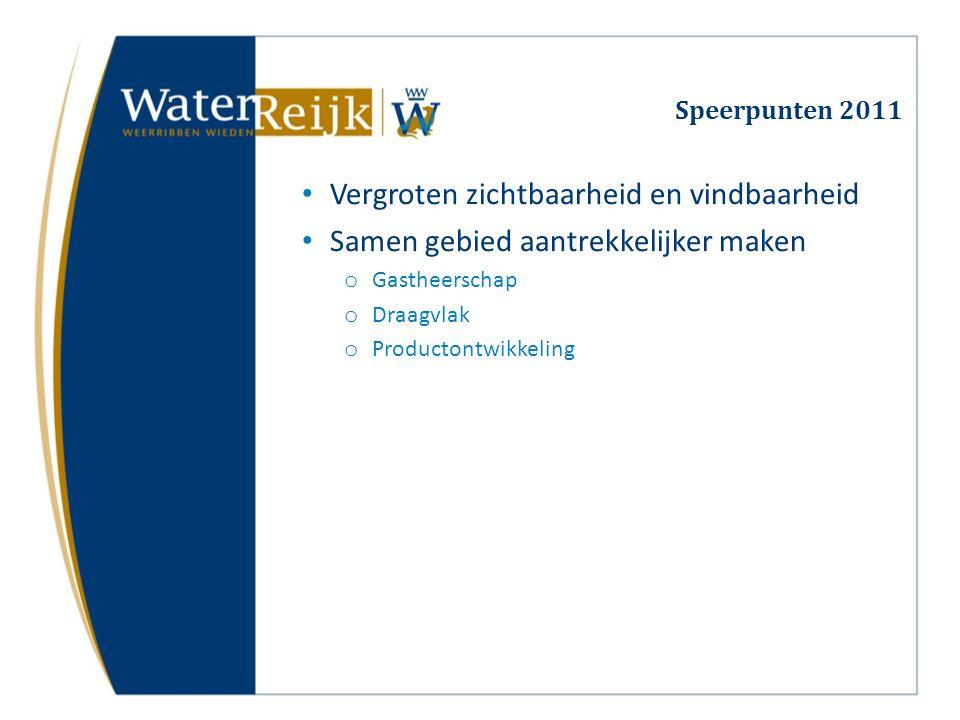 Speerpunten 2011 Vergroten zichtbaarheid en vindbaarheid Samen gebied aantrekkelijker maken o Gastheerschap o Draagvlak o Productontwikkeling