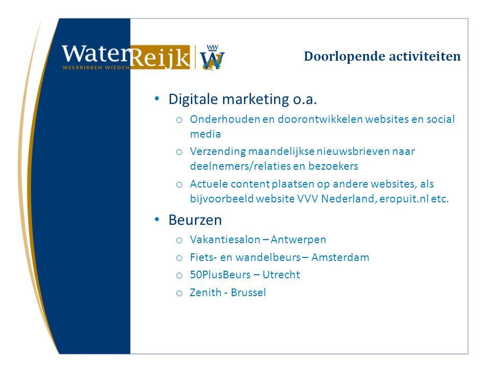 Doorlopende activiteiten Digitale marketing o.a. o Onderhouden en doorontwikkelen websites en social media o Verzending maandelijkse nieuwsbrieven naa
