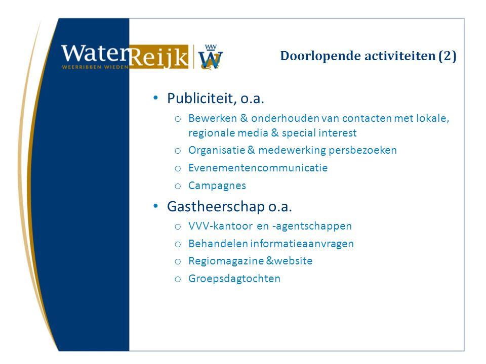 Doorlopende activiteiten (2) Publiciteit, o.a.