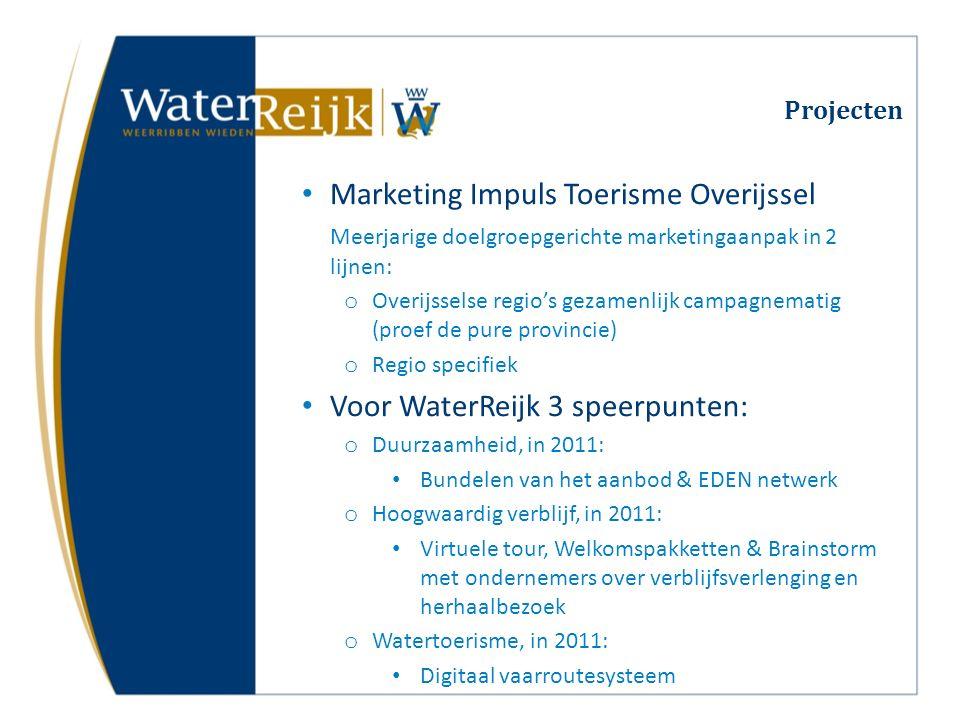 Projecten Marketing Impuls Toerisme Overijssel Meerjarige doelgroepgerichte marketingaanpak in 2 lijnen: o Overijsselse regio's gezamenlijk campagnema